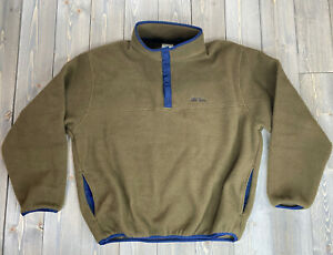 Vintage LL Bean Mens Large Brown Snap Collar Fleece Pullover Made in USA