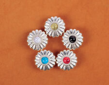 """5X 5/8""""  5 COLORS TURQUOISE BLING SLIVER FLOWER LEATHERCRAFT CONCHOS SCREWBACK"""