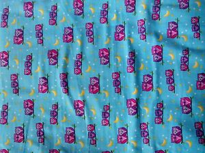 New Comfy Flannel Pink and Purple Owls on Blue Flannel Fabric by the 1/4 Yard