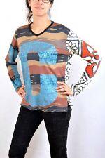 Custo Barcelona Multi Abstract Top knit TEE T Shirt Camo Pop ART Emo S Look NICE