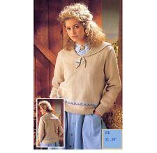 Ladies' DK Sailor Collar Fair Isle Detail Sweater Vintage Knitting Pattern
