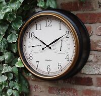 Outdoor Garden Wall Clock Thermometer & Humidity 45cm  Station Black gold rim