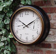 Orologio da parete da giardino esterno Termometro Umidità & Stazione 45 cm nero bordo d'oro