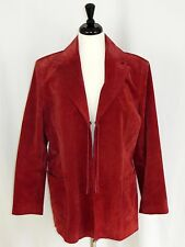 Santa Fe Suede Leather Jacket Blazer Open Front Braided Ties Lined Red L