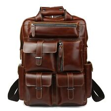 Men's Real Leather Backpack Laptop Bag Large Hiking Travel Camping ...