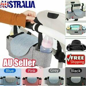 Baby Stroller Storage Bag Mummy Pram Organiser Caddy Pushchair Bottle Holder BZ