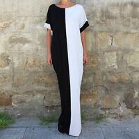 New Women Boho Summer Long Maxi Beach Dresses Party Evening Contrast Color Dress