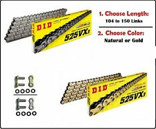 D.I.D DID 525 VX3 Xring Drive Chain Gold or Natural with Rivet Master Link