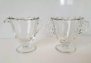 Vintage Glass Creamer and Sugar Bowl Scalloped Edges