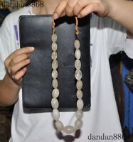 Old Tibet Tibetan Buddhism natural crystal Hand carved Talisman Necklace Amulet