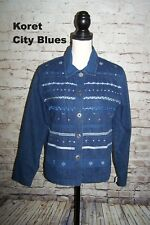Koret City blue Womens Medium Blue Cotton Denim Jacket Embellished Rickrack Trim