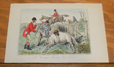 1858 Antique Fox-Hunting COLOR Print///MR BUNTING'S SHOCKING BAD HORSE!