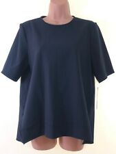 BNWT ZARA Woman navy blue plain boxy blouse t-shirt top size M 12 euro 40 NEW