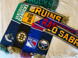 NHL Youth Winter Scarf One Size Boys Kids 8-20, Sabres, Bruins, Rangers, Canucks