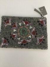 NWT Anthropologie Beaded Flower Pouch Clutch Handbag