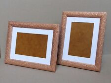 "Rosegold Glittery/Sparkly Photo Frame with Mount for 6 x 4""/4 x 6"" Photo/Print"