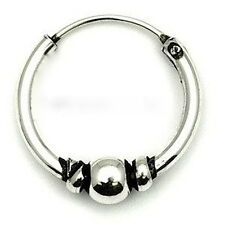 MENS STERLING SILVER BALI STYLE HOOP/SLEEPER 12mm x 1.6mm - 1 SINGLE EARRING