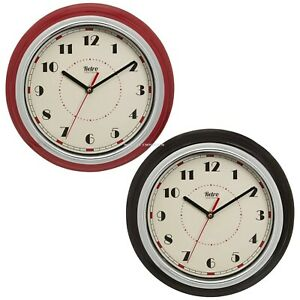 DINER WALL CLOCK NEW American 50's Style Kitchen HOME Red / Black