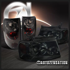 For 2004-2008 Ford F150 XL XLT Smoke Lens Headlights+Tail Lamps Pair Left+Right