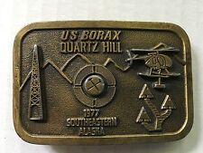 US Borax Quartz Hill Southeastern Alaska Oil Rig Cast Metal Belt Buckle Vtg 1977