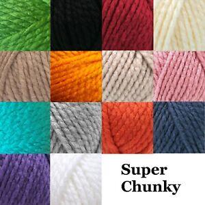 Robin Super Chunky Wool Yarn Knitting Crochet Very Soft 18 Colours 100g Balls