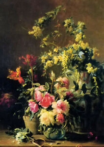 Oil painting gustave emile couder - still life with peonies spring plants canvas
