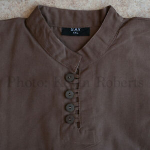 Medieval Shirt Brown + Wood Buttons Pirate Colonial Reenactors Cosplay 4 Sizes