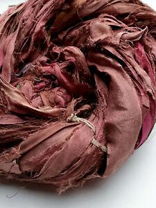 3 Meters Recycled Sari Silk Ribbon - Rhubarb
