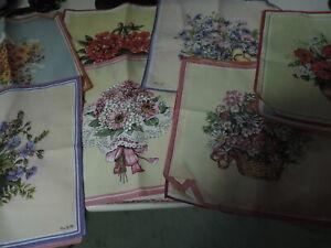 10 Damen-Taschentücher,Baumwolle,mit Blumen,farbig bedruckt,60er Jahre