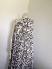 Pure 100% Silk Classic Print Black White Monotone Fabric Sold by the Meter