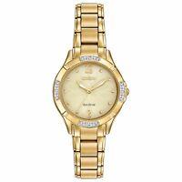 Citizen Eco-Drive Women's Diamond Accents Gold-Tone 30mm Wrist Watch EM0452-58P