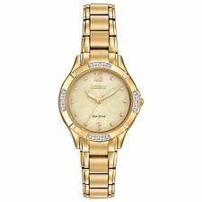Citizen Eco-Drive Women's Diamond Accents Gold-Tone 30mm Watch EM0452-58P