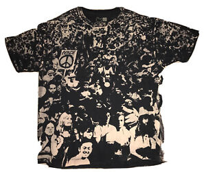 Woodstock XL Audience Crowd All Over Print Reprint Of 1970 Vintage T Shirt