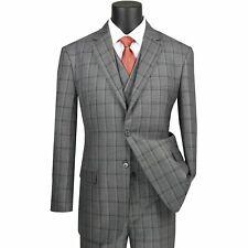 VINCI Men's Gray Windowpane 3 Piece 2 Button Classic Fit Suit NEW