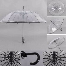 Transparent Clear Dome Automatic Rain Umbrella Large Parasol Wedding Party #JP