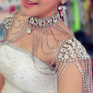 Rhinestone Crystal Handmade Bridal Shoulder Pearl Pageant Wedding Shoulder Chain