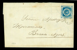URUGUAY 1862 SUN  120c blue  Scott # 16 on cover from Montvideo to Buenos Aires