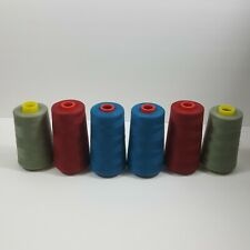 LOT OF 6 6000 YARD CONES  SEWING THREAD Red Blue Sage  TEX 27 24 Coats American