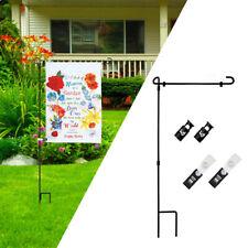 Anti-wind Iron Garden Flag Pole Stand Yard Outdoor Flags Stake Banner Bracket Us