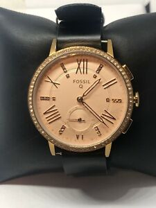 Fossil FTW1106 Women Black Leather Analog Rose Gold Dial Hybrid Smartwatch CM340
