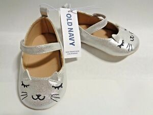 NEW Old Navy Silver Critter Cat Flats Ballet Shoes Baby Girls 3 6 12 18 Mary Jan