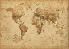 (LAMINATED) WORLD MAP VINTAGE ANTIQUE STYLE GIANT POSTER (100x140cm) WALL CHART