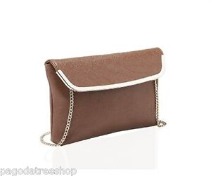 New Brown Fold Over Clutch Handbag Over Body Bag with Detachable Chain Strap