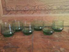 Vintage Libbey Green Lowball 8 Ounce Tumbler Glass Set of 6