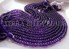 "9"" strand purple AFRICAN AMETHYST smooth gem stone rondelle beads 5.5mm"