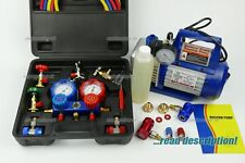 Car R12 R134a R1234yf AC air conditioning Gauge manifold + vacuum pump tool kit