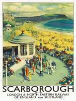 TRAVEL TOURISM SCARBOROUGH BEACH RESORT YORKSHIRE UK ART PRINT POSTER CC2059