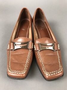 Leather Block Heel Franco Sarto 6 1/2 Brown Slip on Shoe