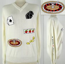 Vintage Women's Sweater Gambling Las Vegas Tahoe V-Neck Off-White Embroidered