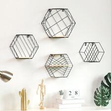 35cm Nordic Iron Wall Shelfs Hexagonal Racks Grid Storage Shelve Wall Decoration